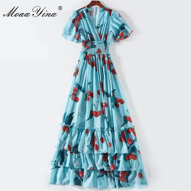 Image 5 - MoaaYina Fashion Designer Runway dress Spring Summer Women Dress V  neck Elastic waist Fruit Floral Print Ruffles DressesDresses   -