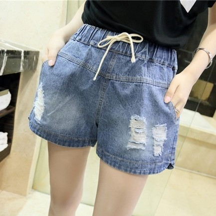 Verão Solto Mm de Gordura de Grandes Dimensões Skinny Shorts Jeans Feminino Bermuda Jeans Cintura Elástica