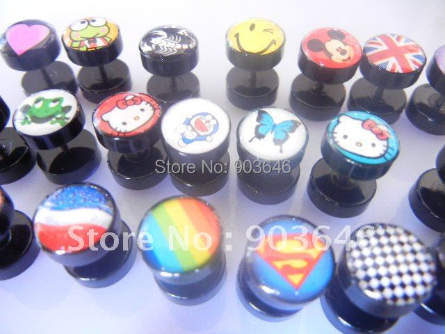 LOT100pcs LOGOS  Body Jewelry -Fake Ear Plugs Illusion Ear Tapers Expander Plug Ear Studs