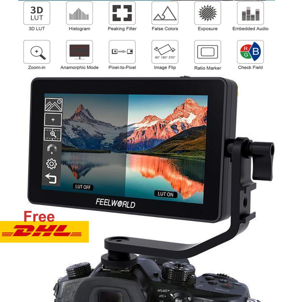 Feelworld F6 PLUS Touch Screen Monitor Aluminum Alloy F5.5 Inch 3D Lut 4K On-Camera DSLR Camera On Gimbal Monitor