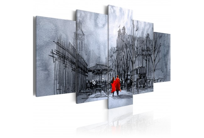 5Pieces Black and white city building And red couple landscape print on canvas home decor for living room picture Framed PJMT 21 in Painting Calligraphy from Home Garden
