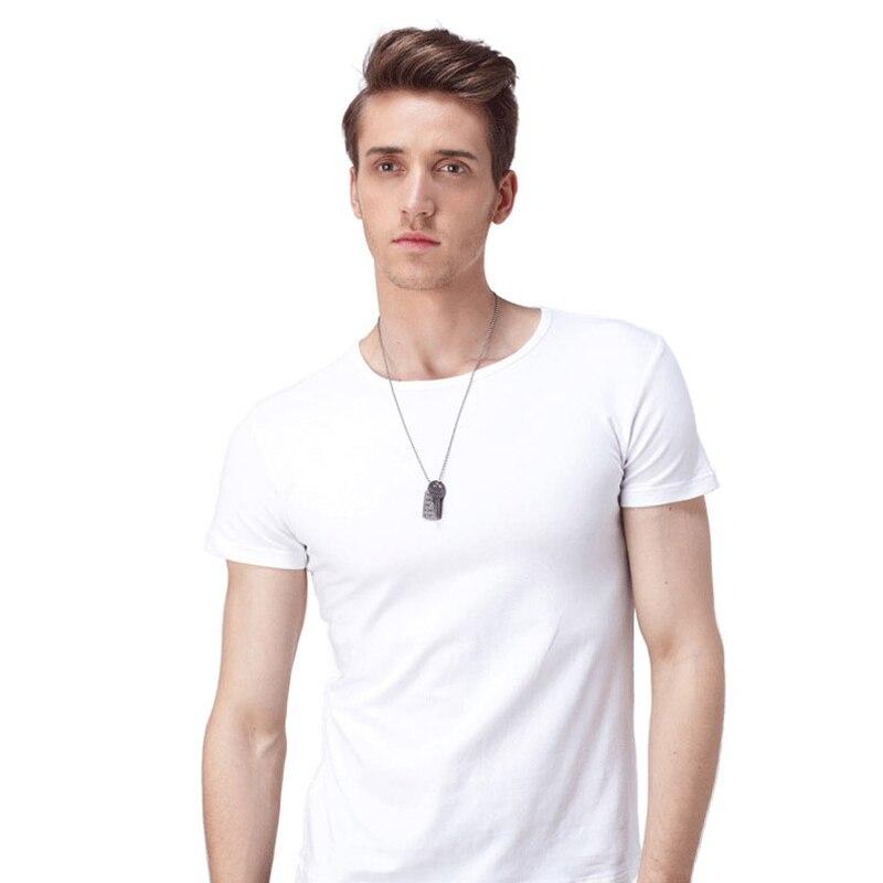 Günstige Herren Weiß Causal Base T-Shirt Kurzarm Weiß Kein Druck - Herrenbekleidung - Foto 3