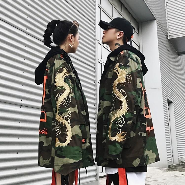 特大ドラゴン刺繍迷彩ロングトレンチコートの男性  グループ上の メンズ服 からの トレンチ の中 1
