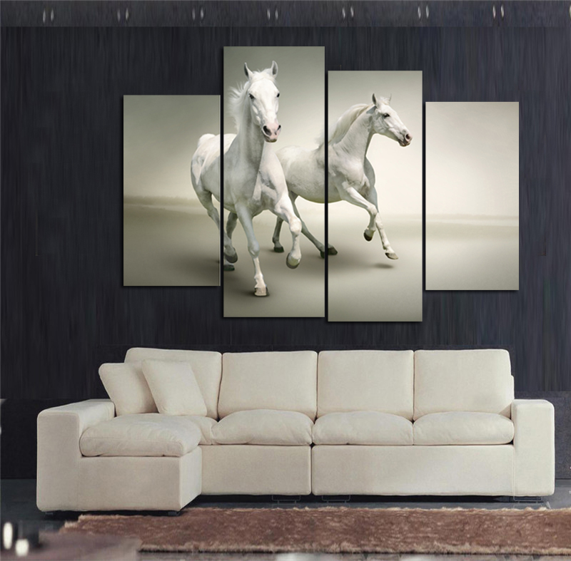 Home Art Wall Decor Horses Two Run Animals Oil Painting Printed On Canvas