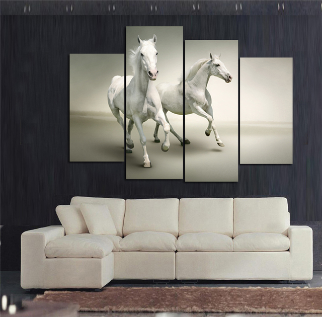 TWO WHITE HORSES OIL PAINTING ON CANVAS modern wall art home