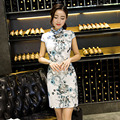 2016 Brand New Arrival Chinese Traditional Cheongsam Women's Linen Hand-Made Button Mini Cheong-sam QiPao Dress S M L XL XXL