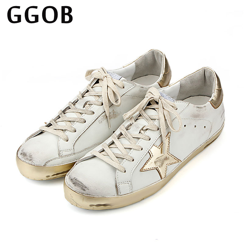 GGOB 2018 Handmade Genuine Cowhide Women Casual Shoes Genuine Leather Do Old Dirty Shoes ladies shoes Star Cowhide trainers original handmade autumn women genuine leather shoes cowhide loafers real skin shoes folk style ladies flat shoes for mom sapato
