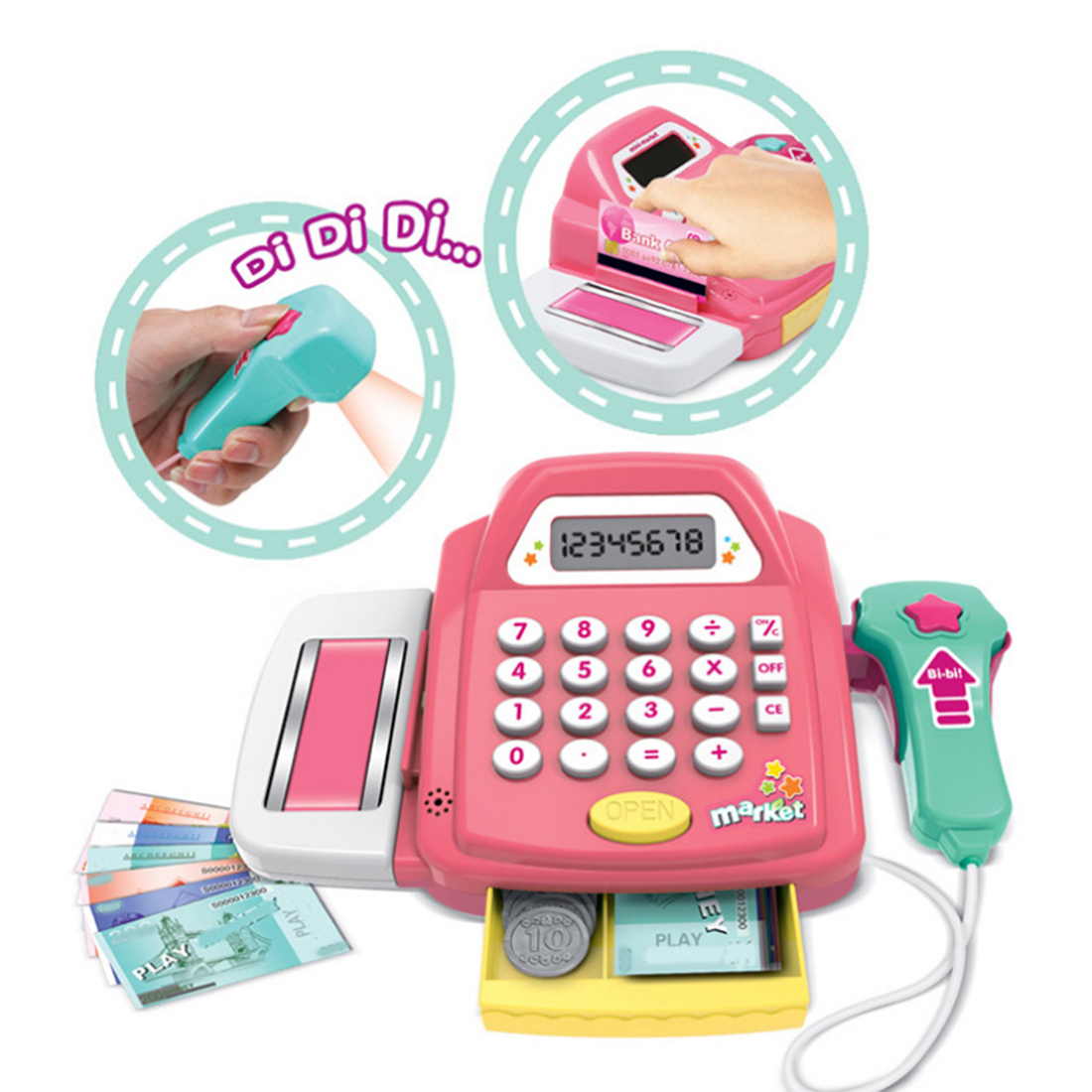 Kids Supermarket Cash Register Electronic Toys with Foods Money Children Learning Education Pretend Play Set Best Christmas Gift Lahore