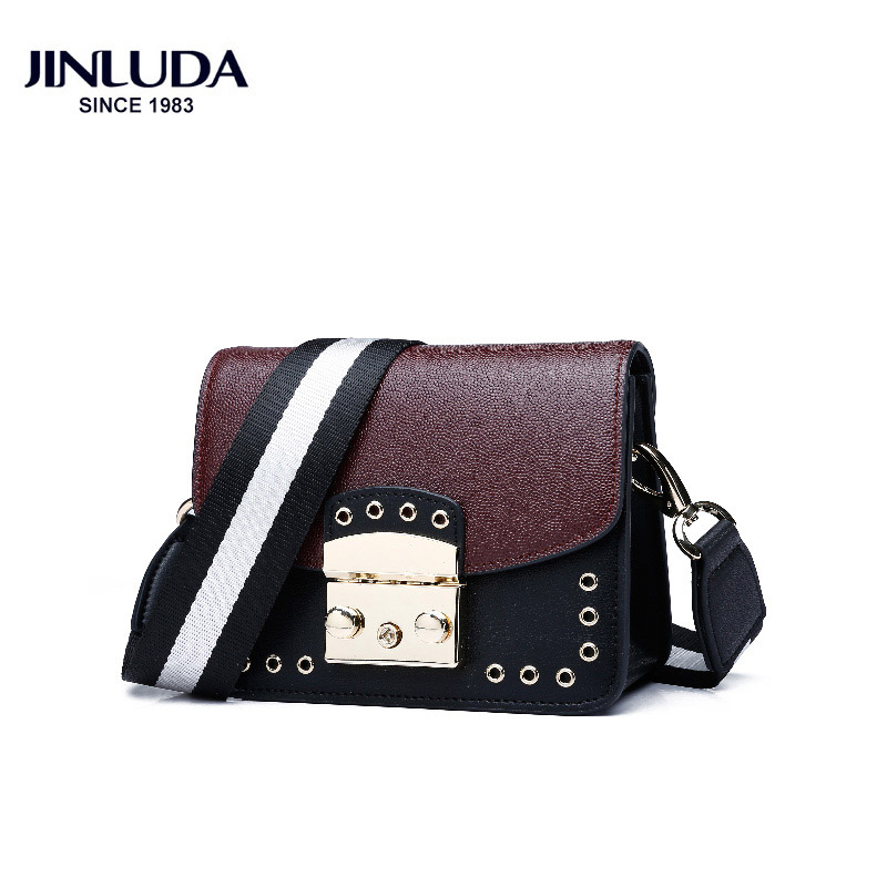 Jinluda Women's Messenger Bags Shoulder Bag Female Color Contrast Hollow Small Square Bags Shoulder Crossbody Small Bag Female contrast lace open shoulder tee