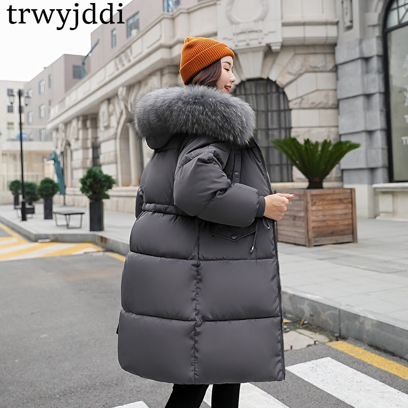 Cotton Clothing Female Long 2018 Winter New Waist Thin Cotton Coat Jacket Thick Large Fur Collar Loose Warm   Parkas   Jackets A1124