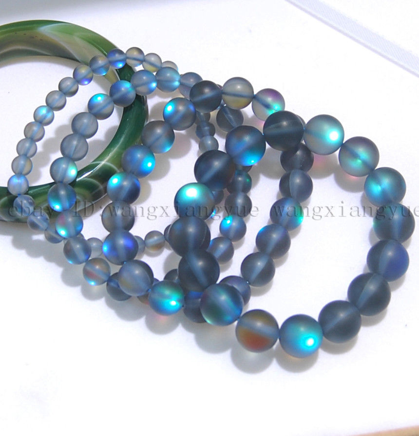 Natural 6//8//10//12mm gray Gleamy Rainbow Moonstone Round Gems Loose Beads 15/'/'