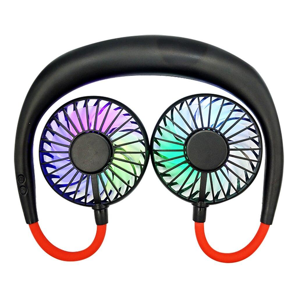 Portable  USB Rechargeable Hanging Mini Fan Head Neckband Fan LED Light Mini Usb Hand Free Fan For Sport Men 513#2