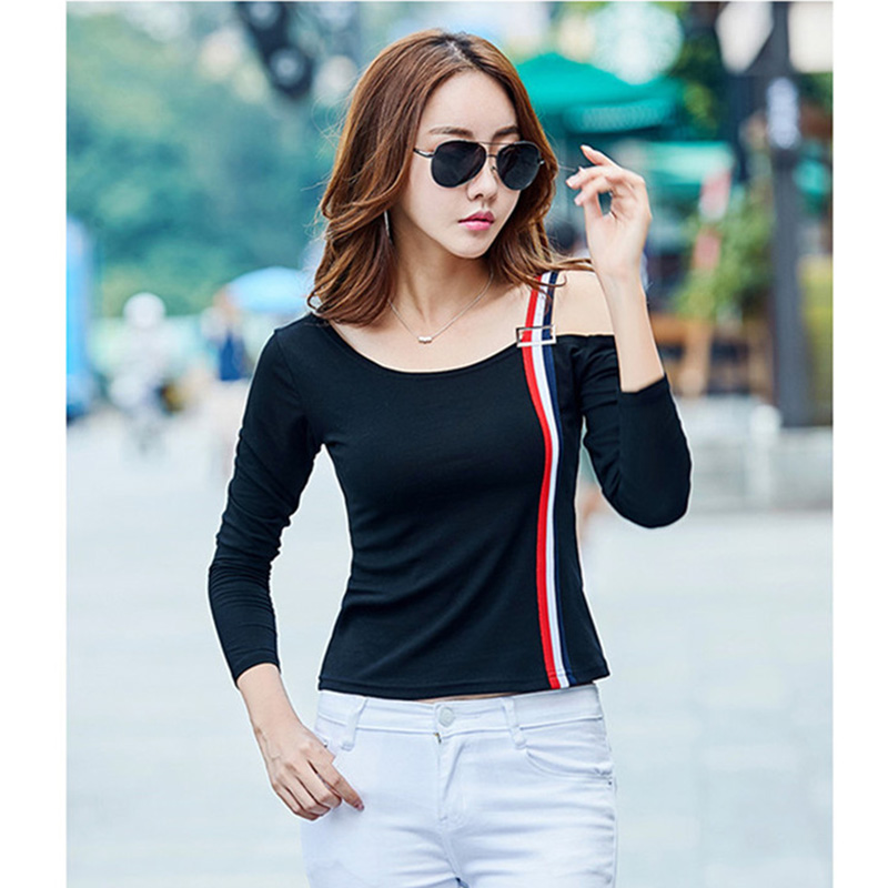 White T-Shirt Off The Shoulder Tops For Women cotton Tshirt 2017 fashion Autumn Casual Slash Neck kawaii T Shirt Tee Shirt Femme