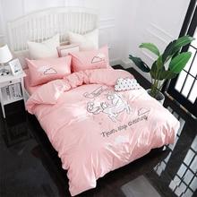Papa&Mima Cartoon style unicorn Applique Embroidery bedding set Twin Queen size Cotton duvet cover flatsheet pillowcase sets