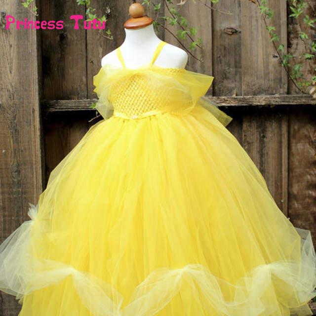 35816fef47b227 US $25.38 10% OFF|Yellow Party Flower Girl Dress Tulle Tutu Dress Belle  Princess Costume Halloween Beauty And Beast Cosplay Dress For Kids  Pageant-in ...