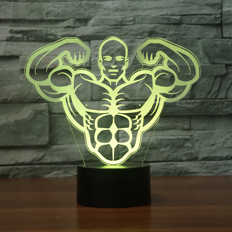 hotsale 2017 3D LED lampada strong man visual 7 color Night Light Acrylic material Gradient Atmosphere decoration Lamp