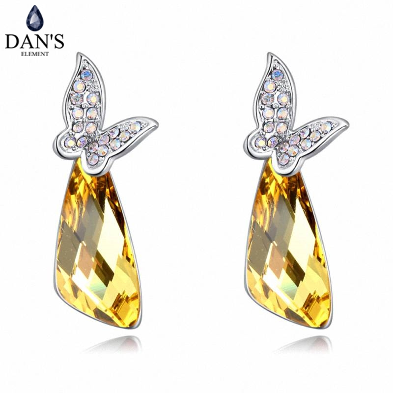 DANS 6 Colors Real Austrian crystals Stud earrings for women Earrings s New Sale Hot Round 129616