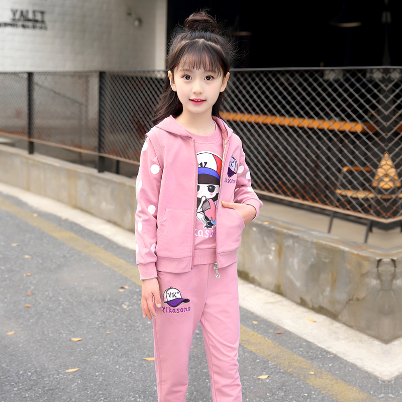 Baby Girl Clothes Set Print Long Sleeve Sweatshirt + Hooded Vest Jacket + Pant 3pcs School Children Clothing Big Girls 10 11 12 цена 2017