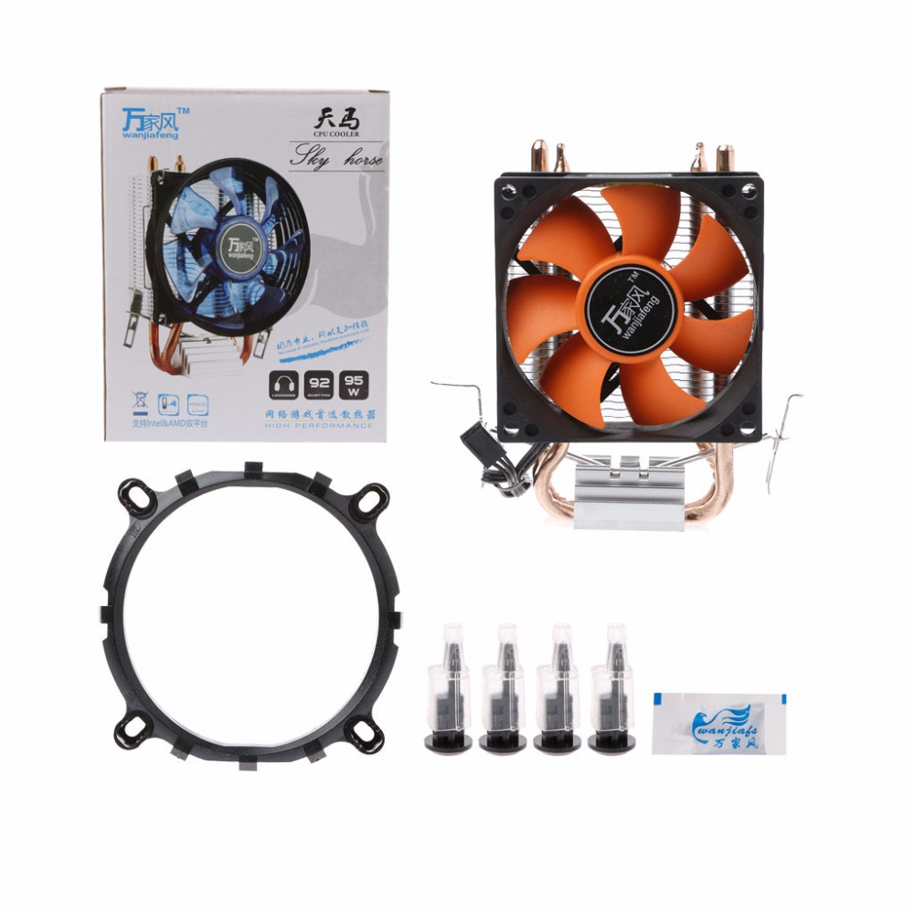 2 Heatpipe Aluminium PC CPU Cooler Cooling Fan For Intel 775/1155 AMD 754/AM2 personal computer graphics cards fan cooler replacements fit for pc graphics cards cooling fan 12v 0 1a graphic fan