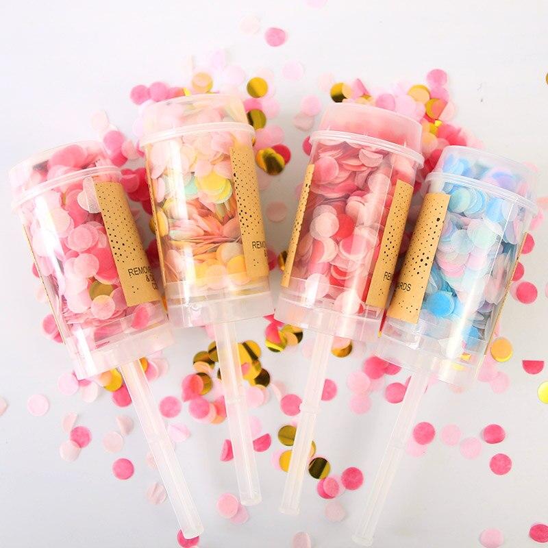 Metallic Confetti Cannon Bachelorette 40 cm Confetti Shooter Party Popper Pink