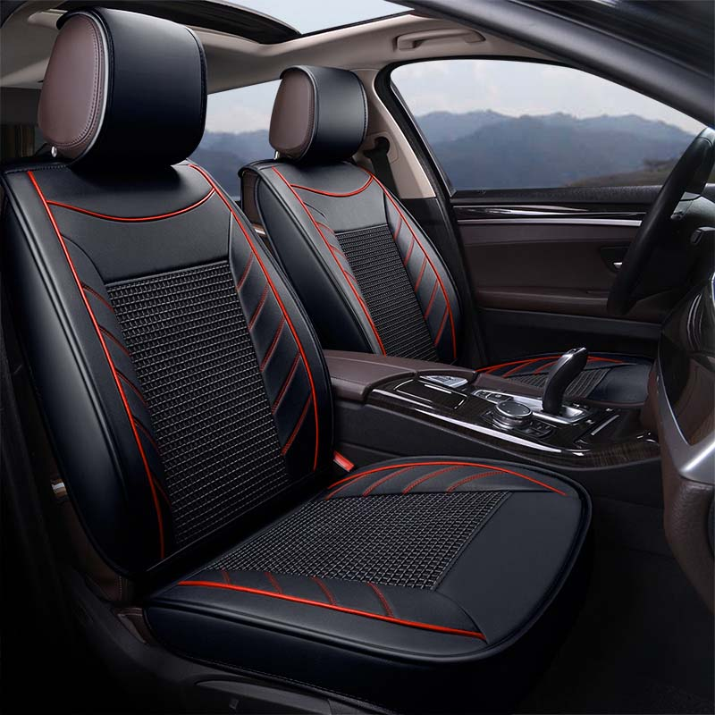 9pcs Universal Leather Car Seat Cover Breathable Ice Silk