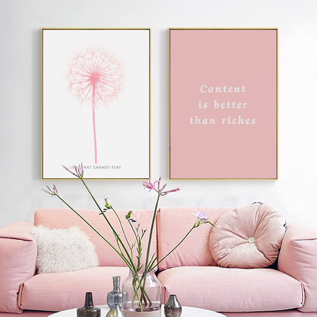 ZeroC Posters And Prints Wall Art Canvas Painting Pink Flower Wall ...
