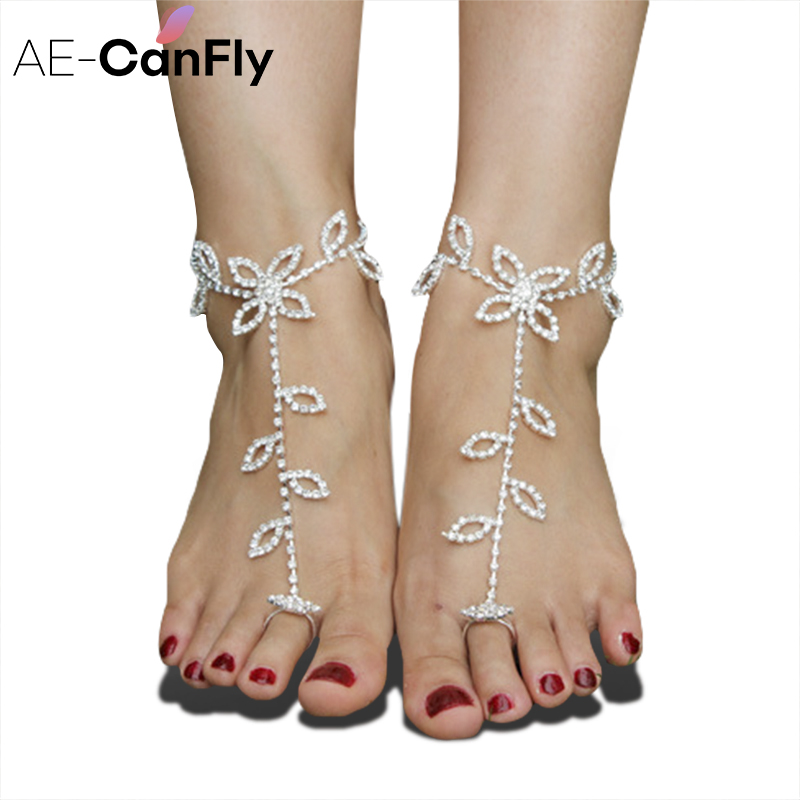Ae Canfly Brilliant Rhinestone Barefoot Sandals Fashion
