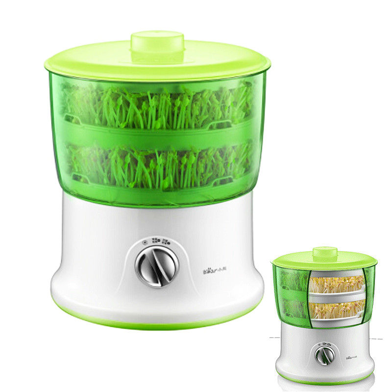 JA22 Automatic Bean Sprout Machine 2 Layer Large Capacity Intelligent Bean Sprouts Maker Upgrade 1.8L Water Tank Thermostat