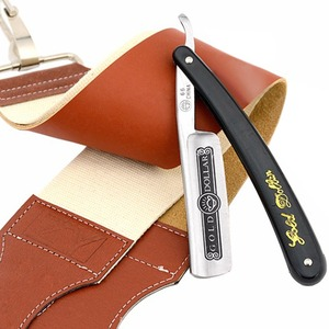 Gold Dollar 66 Straight Razor Carbon Steel Shaving set Straight Razor Sharpener Strop Leather Canvas Sharpening Strop Belt