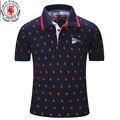 2016 Nuevos Hombres de la Marca Polo Camisa Para Hombre de Polo Sólido homme Casual Camisetas de manga corta para Hombre de Impresión Completa 100% Algodón Más El Tamaño 014
