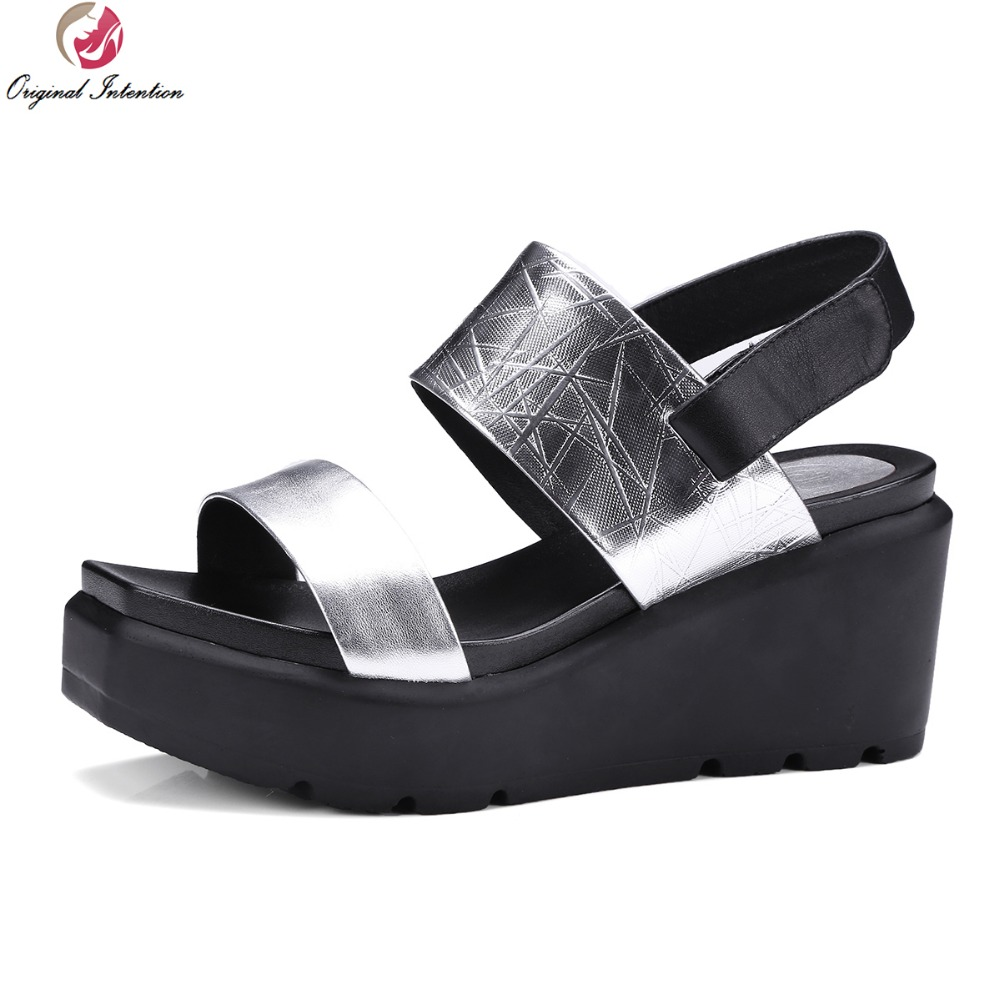 ФОТО New Concise Women Sandals Popular Cow Leather Open Toe Wedges Sandals High-quality Silver Shoes Woman US Size 4-10