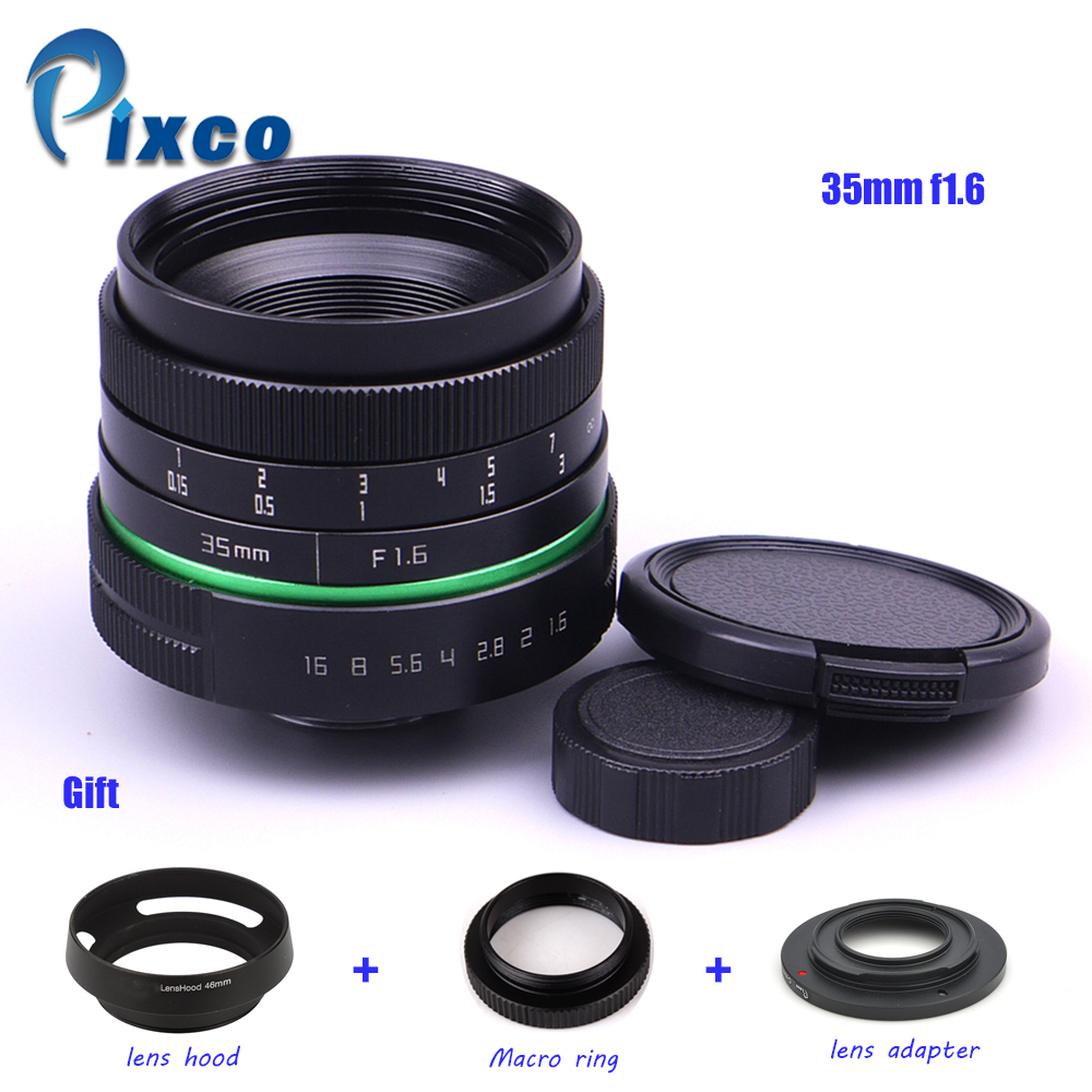 35mm f/1.6 APS-C Lens + Lens Hood + Macro Ring +16mm C Mount adapter for Nikon 1 / M4/3 /Pentax Q / Nex / Fuji/for canonM camera 500mm f 6 3 telephoto mirror lens t2 mount adapter ring for canon nikon pentax sony olympus dslr