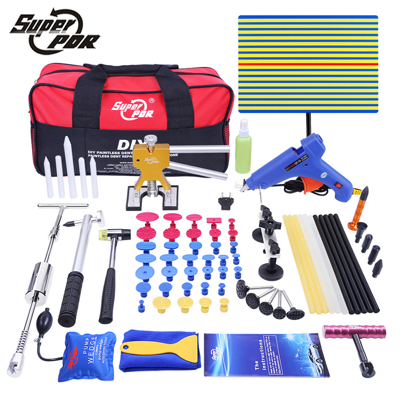 Super PDR tools Car Dent Removal Hand Tool kit Paintless Dent Repair Tools Set send from Spain /Russian /China fast shipping paintless dent removal tools side panel hook wire tool whail tool hand tool rod f005wd