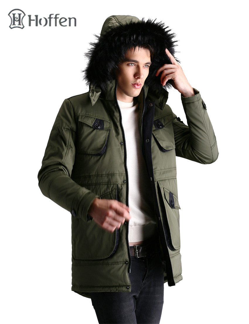 Hoffen new fashion mens padded jackets waterproof and windproof outwear winter jacket mens fake fur hooded thick parka homme 2017 slim fit fashion mens fur parka mens jackets and coats black blue jaquetas masculina inverno cotton padded parka homme