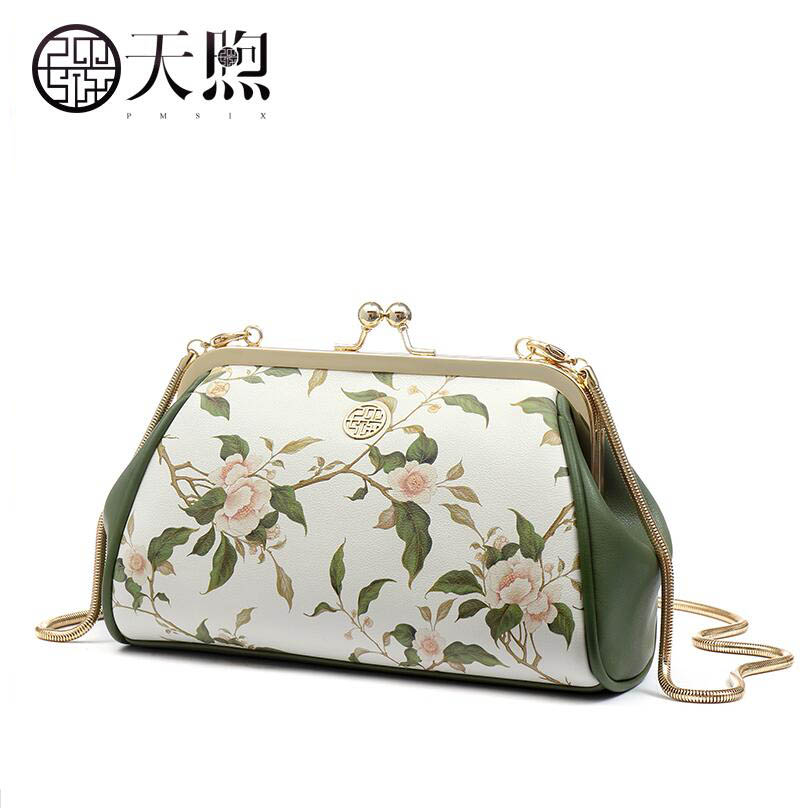 Genuine Leather women bag Chinese wind printed shoulder bag Fashion handbag Original design dinner package Chain bag lemon design chain bag