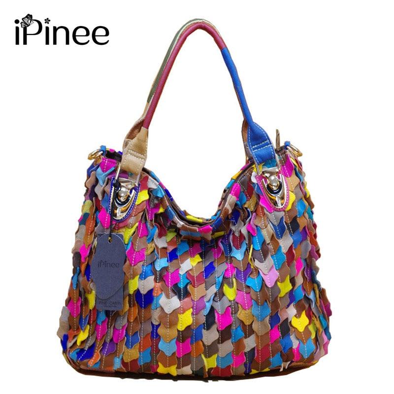 iPinee Fashion Handbags 2018 Luxury Patchwork Բնական Կաշվե պայուսակ Հայտնի բրենդի Sheepskin- ի պատահական կանացի ուսի պայուսակ Կանացի պայուսակներ