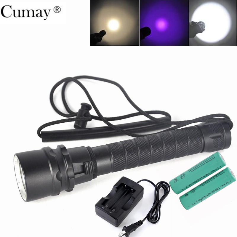 Waterproof LED Diving Flashlight XPE L2 Aluminum Reflector Cup LED UV Yellow White Torch Light 100M Underwater linterna buceo aluminum smooth flashlight reflector silver