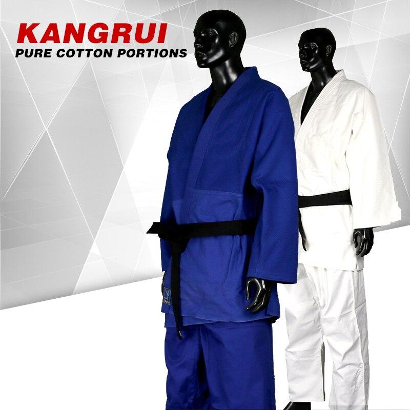ФОТО 2016new brand Blue and White cotton dobok Jiu Jitsu gi Judo uniform Standard Taekwondo martial arts uniform WTF training suit