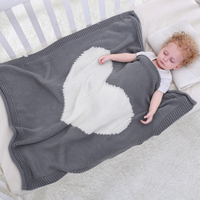Knitted Baby Bedding Blankets Swaddles Super Soft Cotton Heart Crochet Portable Crib Prop Air Condition Sleeping