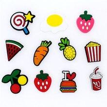 10 шт. креативные подвески для обуви из ПВХ с фруктами/едой/принцессой, аксессуары для обуви, браслеты Croc JIBZ, Детские вечерние подарки на Рождество
