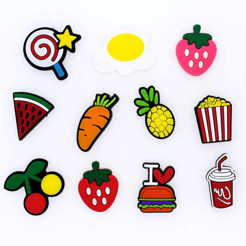 1pcs High Creative fruit/ food/Princess PVC Shoe Charms,Shoes Accessories fit Bracelets Croc JIBZ as kids Party Xmas Gift