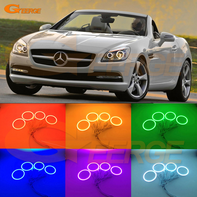 For Mercedes Benz SLK55 SLK250 SLK350 2012 2013 2014 2015 HID Headlight Multi-Color Ultra bright RGB LED Angel Eyes kit for mercedes benz b class w245 b160 b180 b170 b200 2006 2011 excellent multi color ultra bright rgb led angel eyes kit