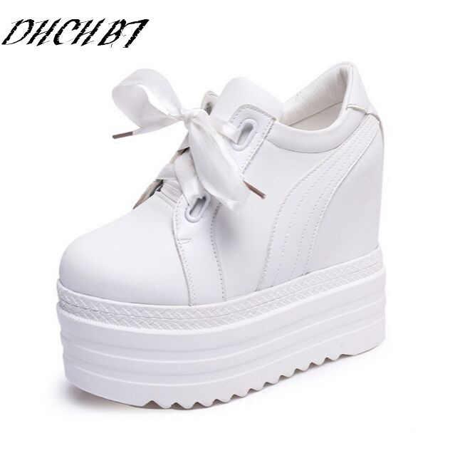f3176a31d Женская обувь на высокой платформе 2018 дышащая обувь из искусственной кожи  Обувь Для женщин высота increasi