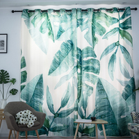 Plantain tree leaves ins printed blackout curtains for children's room custom living room bedroom