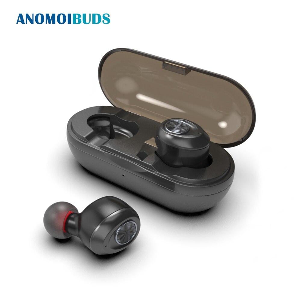 Anomoibuds cápsula inalámbrico TWS Earbuds V5.0 Bluetooth auricular bajo profundo sonido estéreo deporte auricular para Samsung Iphone