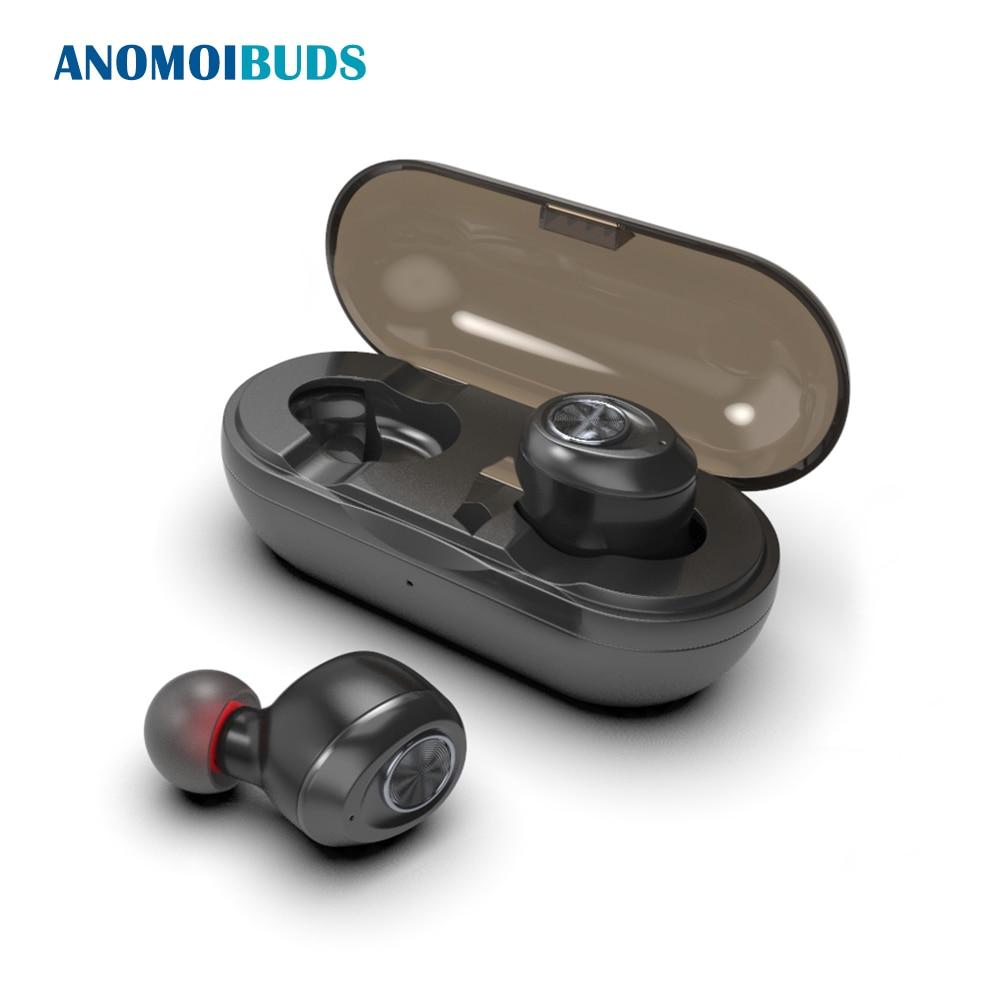 Anomoibuds cápsula inalámbrico TWS auriculares V5.0 auricular Bluetooth auriculares Bass profundo sonido estéreo deporte del auricular para Samsung Iphone