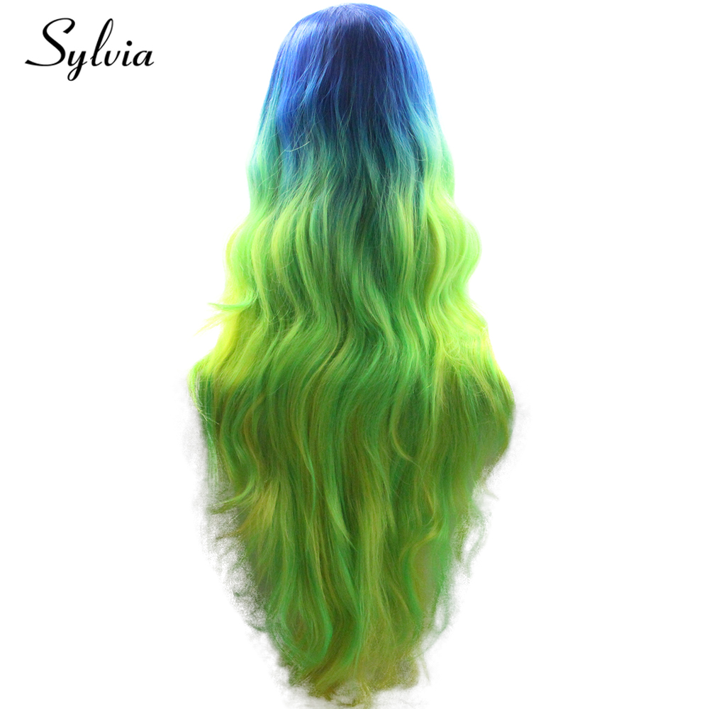 シルビア青、緑、黄色オンブル合成レースフロントかつら 180% 密度耐熱性繊維の毛  グループ上の ヘアエクステンション & ウィッグ からの 合成なしのレースのかつら の中 3