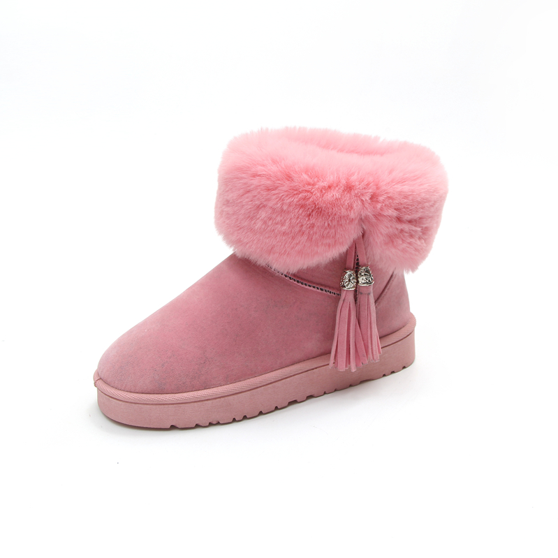 Women Snow Boots Winter Warm Fur Ankle Boots Thick2017 Sole Cotton Woman Flats Botas Mujer Zapatos 2017 women boots female snow ankle boots warm ladies winter warm fur casual shoes woman zippers fur thick sold flats botas mujer