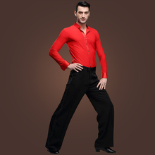 2sets/lot Gentleman's Modern Dancewear Long Sleeves Slims SHirt Black Dance Pants Ballroom Events Show Dancing Wear tl805
