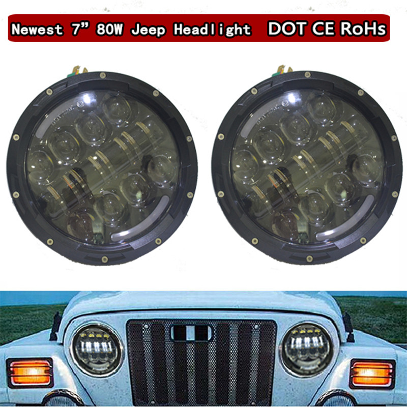 7 INCH Round LED Headlight with DRL,Integrated LED 7'' 80W Headlights for Jeep Wrangler Harley Hummer FJ Cruise,Defender 7 inch 80w round led headlights high